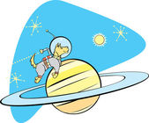 SpaceDog and Saturn — Stock Vector