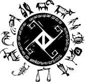 Western Primitive Zodiac #2 — Stock Vector