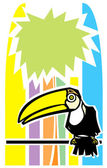 Toucan and Palm Tree — Stock Vector