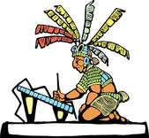 Mayan Scribe — Stock Vector