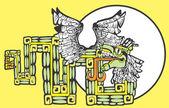 Barevný mayské kukulcan obrázek — Stock vektor