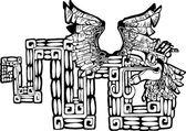 Black and White Mayan Kukulcan Image — Stock Vector