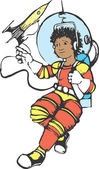 Girl in a spacesuit — Stock Vector