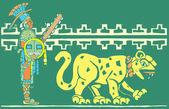 Mayan Warrior and Jaguar — Stock Vector