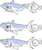 Three great white sharks — Stock Vector