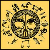 Western Primitive Zodiac #1 — Vector de stock