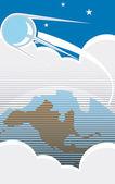 Spoetnik over bewolkt amerika — Stockvector