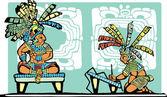 Mayan King and Scribe — Stock Vector