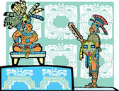 Mayan King and Warrior — Stock Vector