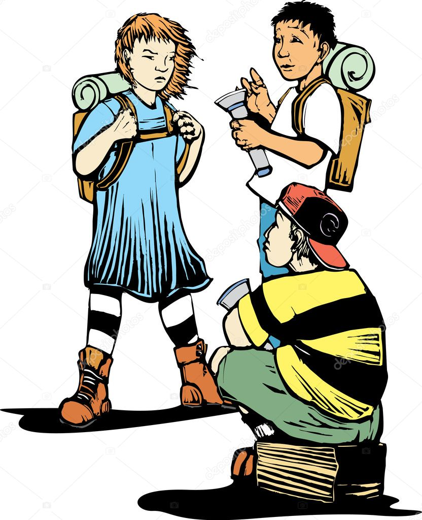 Girl and two boys getting ready to do some exploring. — Stock Vector #2854190