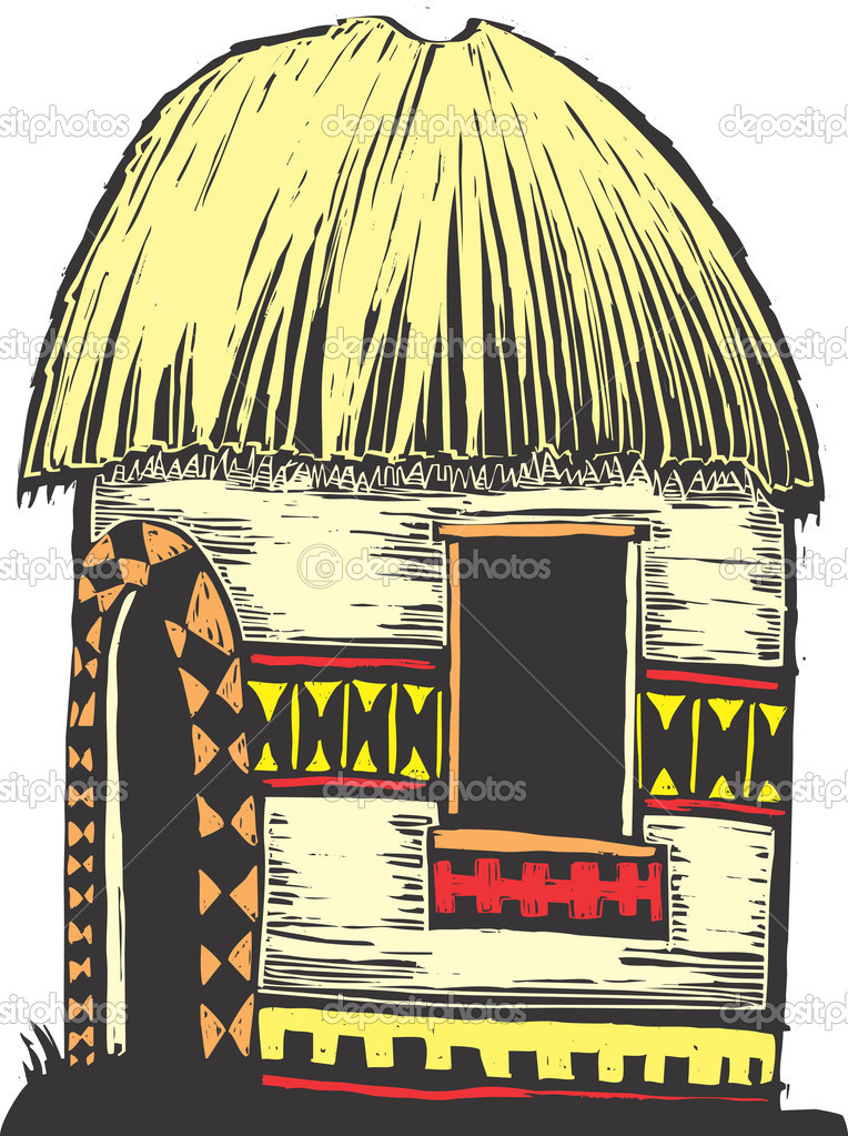 African hut with straw roof and decorated sides. — Stock Vector #2854493
