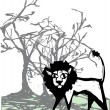 Stock Vector: Lion beneath tree