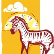 Zebra on Field — Stockvectorbeeld