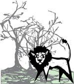 Lion beneath tree — Stock Vector