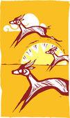 Running Gazelles #1 — Stock Vector