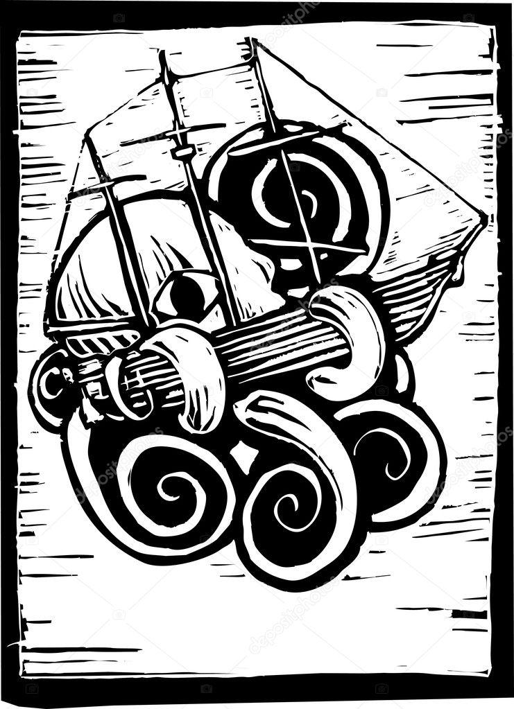 Vintage Kraken Illustration Octopus or Kraken crushing a