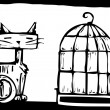 Cat and Birdcage — Stock Vector