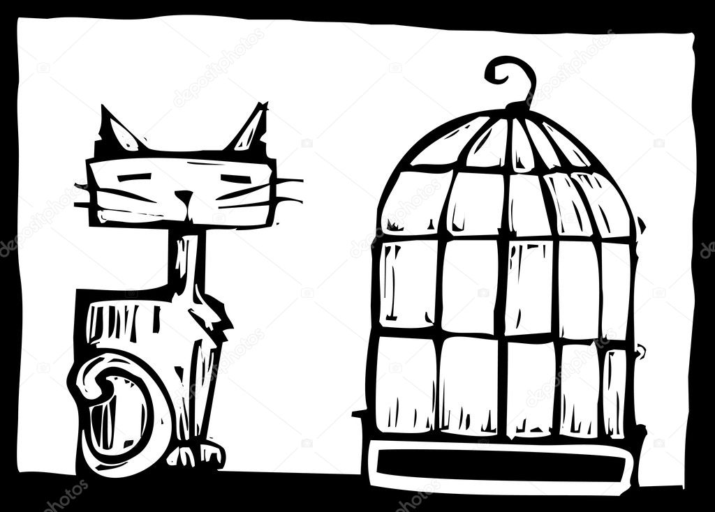 Cat sitting next to an empty bird cage. — Stock Vector #3066645