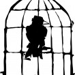 Bird in Cage - Stock Vector