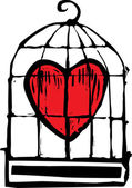 Heart in Cage — Stock Vector