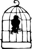 Bird in Cage — Stock Vector