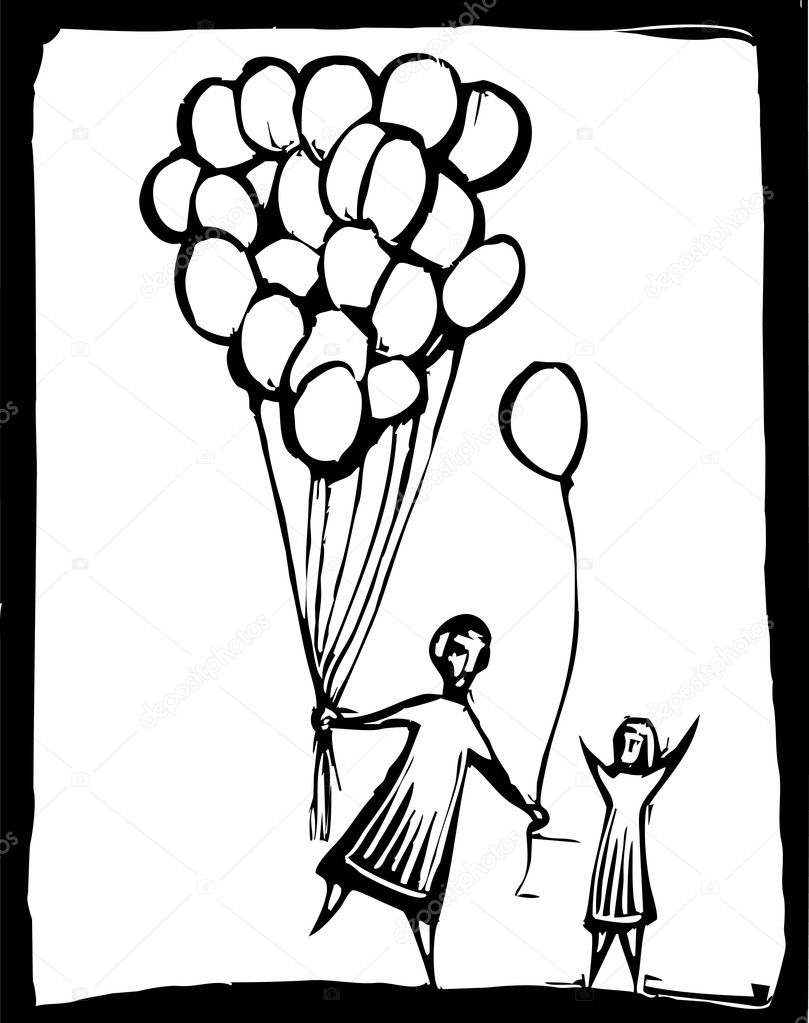 A person gives a child one of his many balloons  Stock Vector #3108943