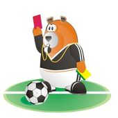 Bear soccer umpire with red card and soc — Stock Vector