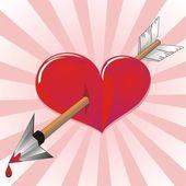 Gloss heart was broken by arrow of love — Stock Vector