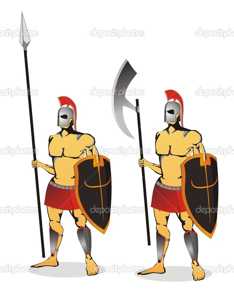Two ancient soldier isolated						 — Stock Vector #2835246
