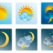 Set of weather icons day and night — Stock Vector