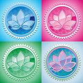 Set of oriental pattern with lotus — Stock Vector