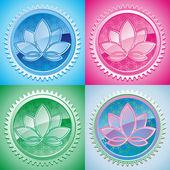 Set van oosterse patroon met lotus — Stockvector