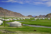 Traditional Yurts in the valley — Stock Photo