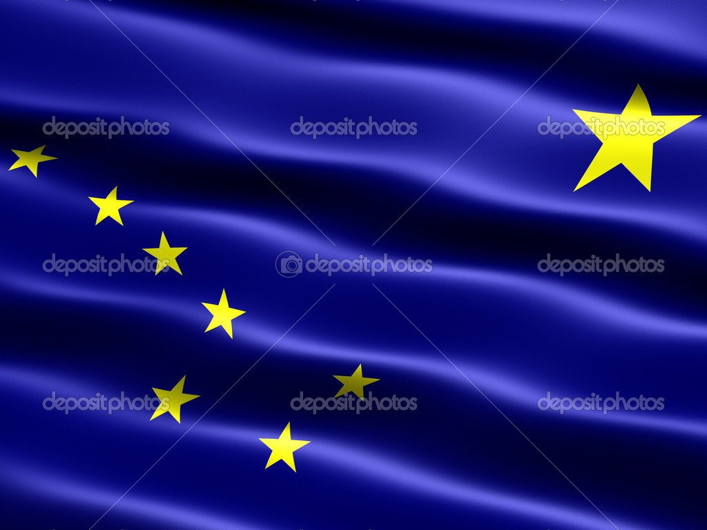 Computer generated illustration of the flag of the state of Alaska with silky appearance and waves — Stock Photo #2852603