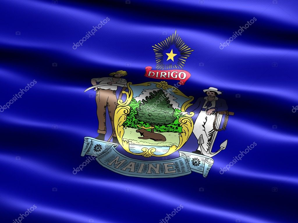Computer generated illustration of the flag of the state of Maine with silky appearance and waves  Stock Photo #2853321