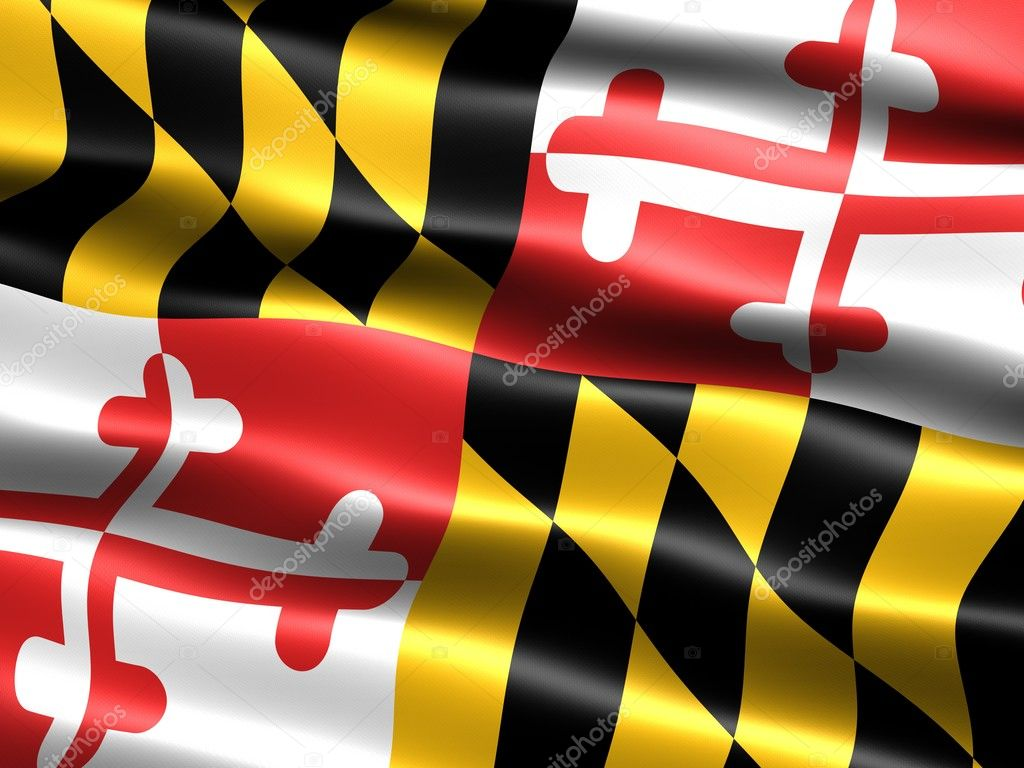 Computer generated illustration of the flag of the state of Maryland with silky appearance and waves  Foto Stock #2853419