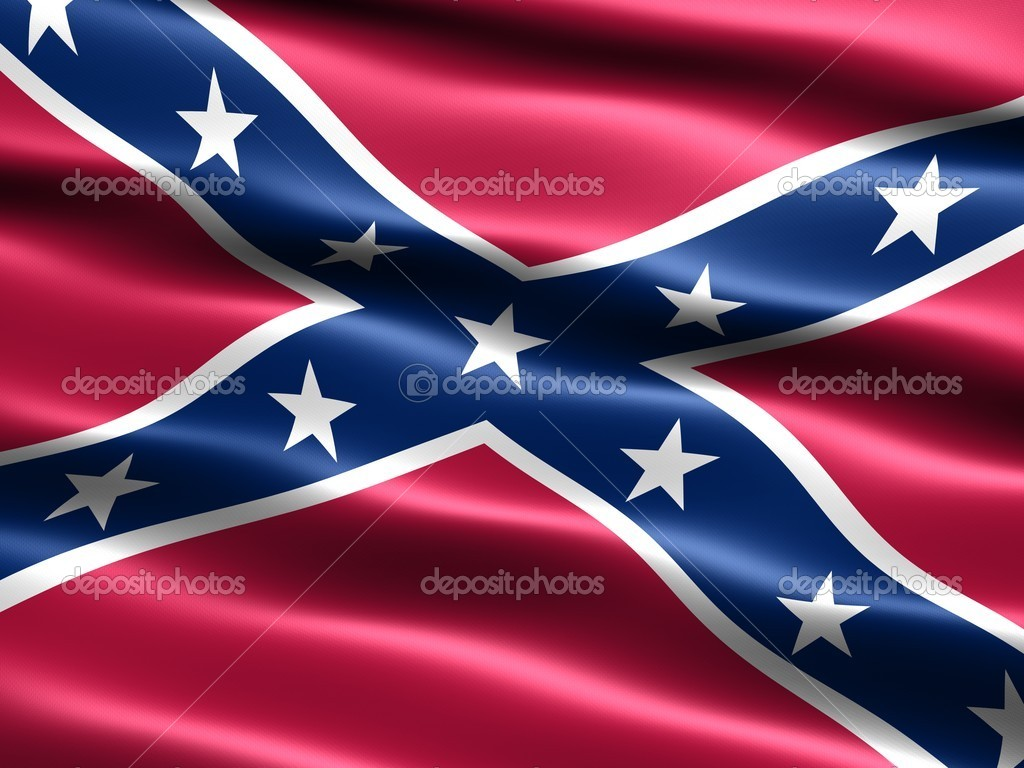 Computer generated illustration of the the Confederate ,  Rebel, or Dixie Flag  with silky appearance and waves  Stock Photo #2855055