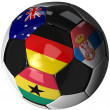 Soccer ball over white with 4 flags — Stockfoto #3029283
