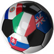 Stock Photo: Soccer ball over white with 4 flags