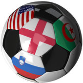 Soccer ball over white with 4 flags — Stock Photo