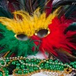 Mardi Gras Mask and Beads — Stock Photo #3384016