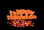 Halloween Sign And Candy — Stock Photo