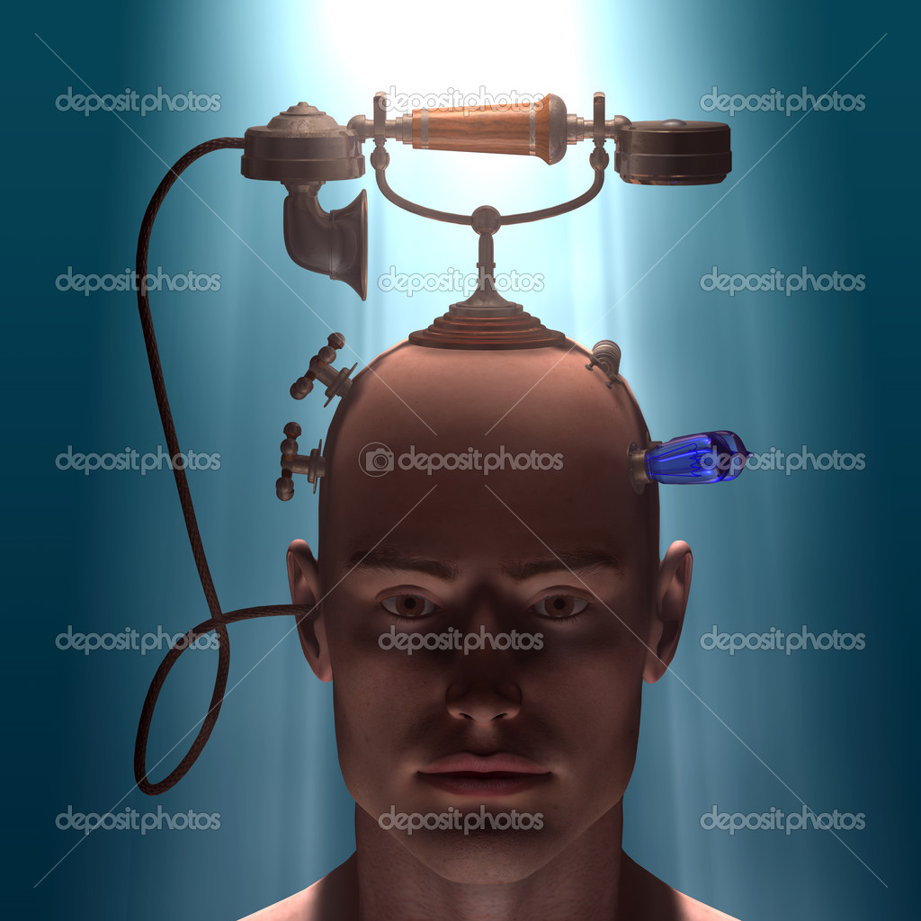A connection between man and other side, using telephone — Stock Photo #2801265