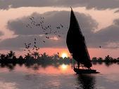 Nil banka ve felucca — Stok fotoğraf