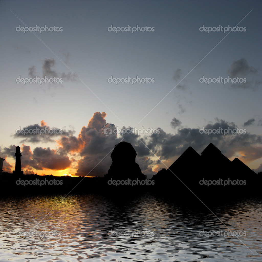 Silhouette Illustration of Giza Pyramids and Sphinx on the Nile with reflection  — Stock Photo #2854841