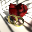 Heart and two wedding rings — Stock Photo #2865901