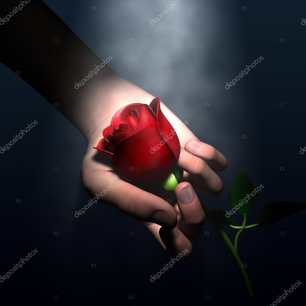 Hope - Red flower on hand - 3d illustration with some painting  Stock Photo #2865238
