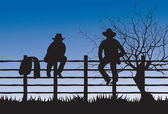 Two cowboys sitting on fence — Stock Vector