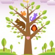 Tree and cute animals — 图库矢量图片