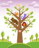 Tree and cute animals — ストックベクタ